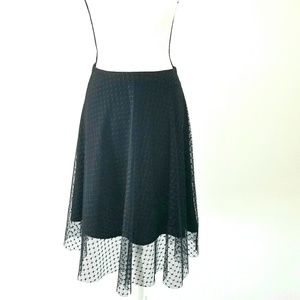 Zara black mesh over the knee skirt